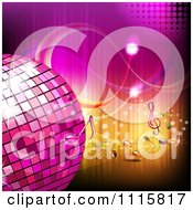Clipart Pink Disco Ball And Music Notes Over Gradient 3 Royalty Free Vector Illustration