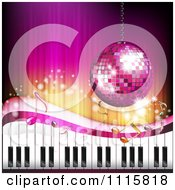 Clipart Pink Piano Keyboard Music Note And Disco Ball Background Royalty Free Vector Illustration