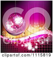 Clipart Pink Disco Baoo Music Note And Butterfly Background Royalty Free Vector Illustration by merlinul