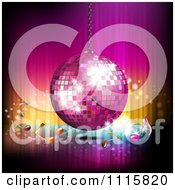 Clipart Pink Disco Ball And Music Notes Over Gradient 1 Royalty Free Vector Illustration by merlinul