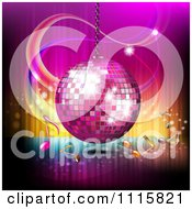 Clipart Pink Disco Ball And Music Notes Over Gradient 2 Royalty Free Vector Illustration