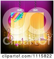 Clipart Suspended Sign With Music Notes On Gradient Royalty Free Vector Illustration