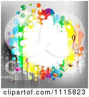 Clipart Music Note Frame Over Gray Royalty Free Vector Illustration by merlinul
