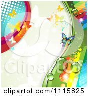 Clipart Rainbow Butterflies Background With Copyspace Royalty Free Vector Illustration