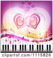 Clipart Pink Piano Keyboard Music Note Heart And Butterfly Background Royalty Free Vector Illustration