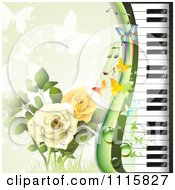 Clipart Piano Keyboard And Rose Background With Butterflies On Green Royalty Free Vector Illustration by merlinul