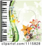 Clipart Piano Keyboard And Lily Background With Butterflies On Green Royalty Free Vector Illustration by merlinul