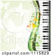 Clipart Piano Keyboard Background With Butterflies On Green Royalty Free Vector Illustration by merlinul