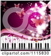 Clipart Pink Piano Keyboard Background With Butterflies Royalty Free Vector Illustration by merlinul #COLLC1115830-0175