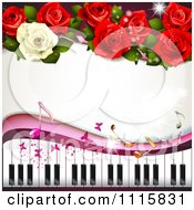 Clipart Piano Keyboard And Rose Background With Music Notes 1 Royalty Free Vector Illustration by merlinul