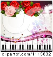 Clipart Piano Keyboard And Rose Background With Music Notes 2 Royalty Free Vector Illustration by merlinul