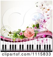 Clipart Piano Keyboard And Rose Background With Music Notes 3 Royalty Free Vector Illustration by merlinul #COLLC1115833-0175