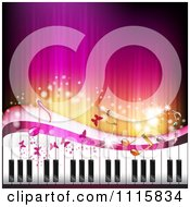 Clipart Pink Piano Keyboard Music Note And Butterfly Background Royalty Free Vector Illustration by merlinul