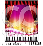 Clipart Piano Keyboard With Butterflies And Curtains Around Copyspace Royalty Free Vector Illustration by merlinul