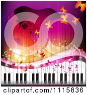 Clipart Piano Keyboard With Butterflies And A Woman In Profile Royalty Free Vector Illustration