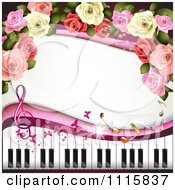 Clipart Piano Keyboard And Rose Background With Music Notes 4 Royalty Free Vector Illustration by merlinul