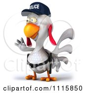 Clipart 3d White Police Chicken Gesturing To Stop 2 Royalty Free CGI Illustration