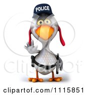 Clipart 3d White Police Chicken Gesturing To Stop 1 Royalty Free CGI Illustration