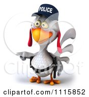 Clipart 3d White Police Chicken Pointing Left Royalty Free CGI Illustration