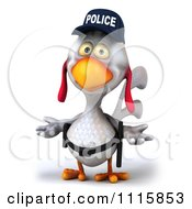 Clipart 3d White Police Chicken Shrugging Royalty Free CGI Illustration