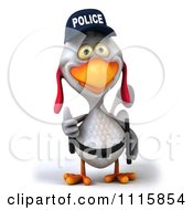 Clipart 3d White Police Chicken Holding A Thumb Up 1 Royalty Free CGI Illustration