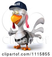 Clipart 3d White Police Chicken Holding A Thumb Up 2 Royalty Free CGI Illustration