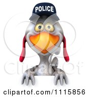 Clipart 3d White Police Chicken Over A Sign Royalty Free CGI Illustration