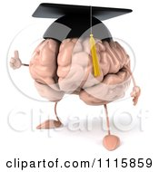 Clipart 3d Graduation Brain Facing Left And Holding A Thumb Up Royalty Free CGI Illustration