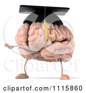 Clipart 3d Graduation Brain Facing Left And Shrugging Royalty Free CGI Illustration