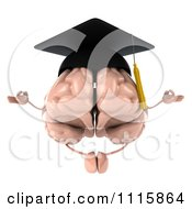 Clipart 3d Graduation Brain Meditating Royalty Free CGI Illustration