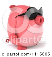 Clipart 3d Chubby Pig Wearing Sunglasses And Facing Right Royalty Free CGI Illustration by Julos