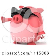 Clipart 3d Chubby Pig Wearing Sunglasses And Pointing Left Royalty Free CGI Illustration by Julos