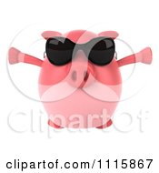 Clipart 3d Chubby Pig Wearing Sunglasses Jumping And Facing Front Royalty Free CGI Illustration by Julos