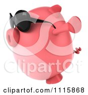 Clipart 3d Chubby Pig Wearing Sunglasses Jumping And Facing Left Royalty Free CGI Illustration by Julos