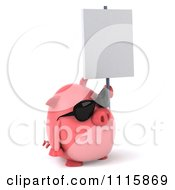 Clipart 3d Chubby Pig Wearing Sunglasses Facing Right And Holding A Sign Royalty Free CGI Illustration by Julos
