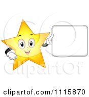 Happy Star Mascot Holding A Sign