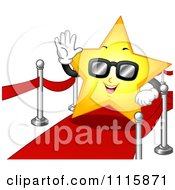 Clipart Famous Star Wearing Sunglasses And Waving On The Red Carpet Royalty Free Vector Illustration