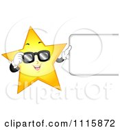 Clipart Cool Star Wearing Sunglasses And Holding A Sign Royalty Free Vector Illustration