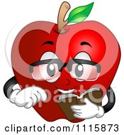 Clipart Smart Red Apple Reading A Book Royalty Free Vector Illustration