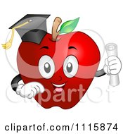 Clipart Graduate Apple With A Cap And Diploma Royalty Free Vector Illustration