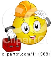 Clipart Construction Worker Smiley Carrying A Tool Box And Tipping His Hard Hat Royalty Free Vector Illustration