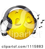 Clipart Relaxed Smiley Listening To Music Through Headphones Royalty Free Vector Illustration