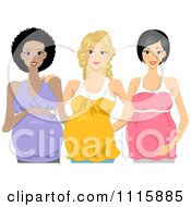 Clipart Happy Pregnant Black Caucasian And Asian Women Posing Together Royalty Free Vector Illustration