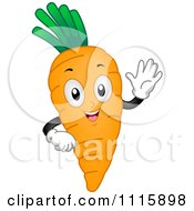 Clipart Happy Waving Carrot Mascot Royalty Free Vector Illustration