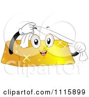 Happy Gold Bar Mascot Using A Shining Cloth