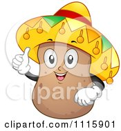 Happy Potato Mascot Holding A Thumb Up And Wearing A Sombrero