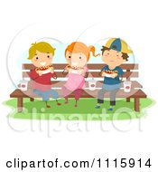 Clipart Happy Kids Eating Hot Dogs On A Bench Royalty Free Vector Illustration