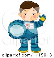 Cute Astronaut Boy Waving And Holding His Helmet