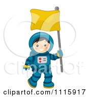 Clipart Cute Astronaut Boy Carrying A Flag Royalty Free Vector Illustration