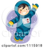 Clipart Cute Astronaut Boy Playing In Space Royalty Free Vector Illustration